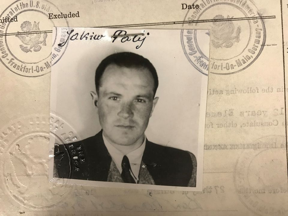 This 1949 photo provided by the US Department of Justice shows a US visa photo of Jakiw Palij.