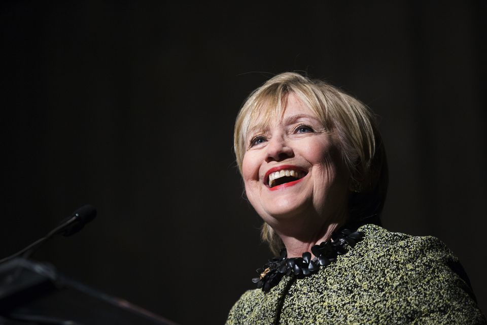 Hillary Clinton speaks during the Annie's List annual luncheon in Houston on April 7, 2017.
