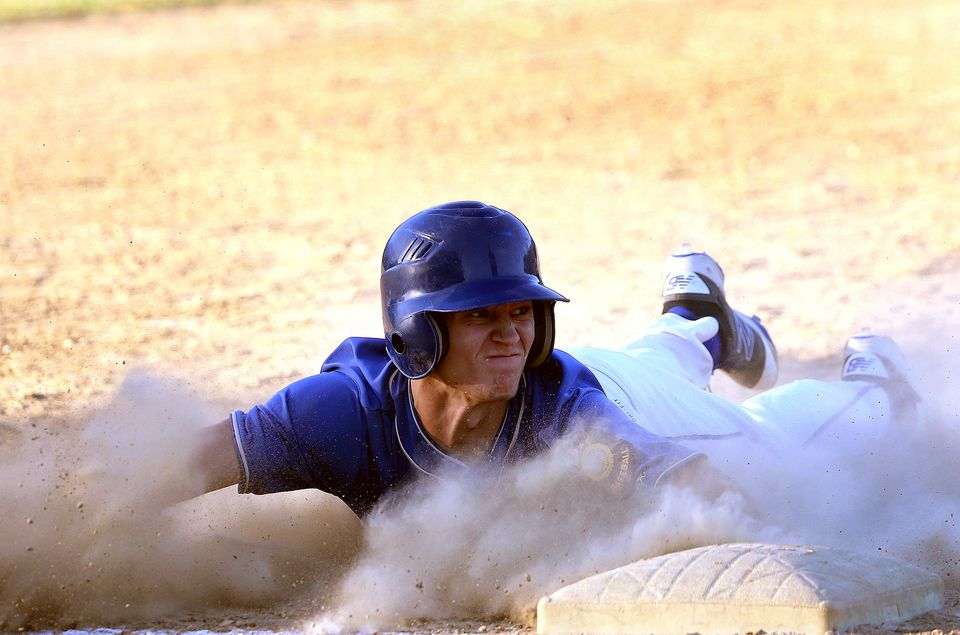 ...  and teammate Justin Adams slid safely into third base. Off to a 4-2 start, Braintree has recently been replenished by players returning from college.