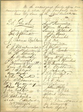 Signatures from the Boston Musicians Union constitution.
