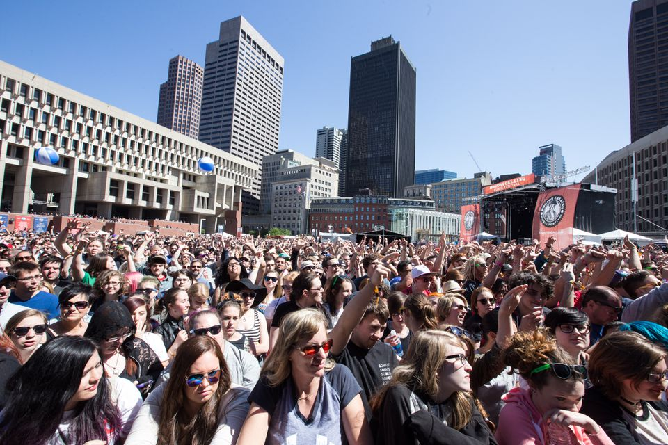 The crowd at City Hall Plaza on the second day of Boston Calling in May 2015.