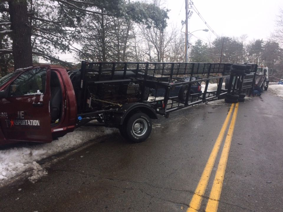 The car carrier after it overturned