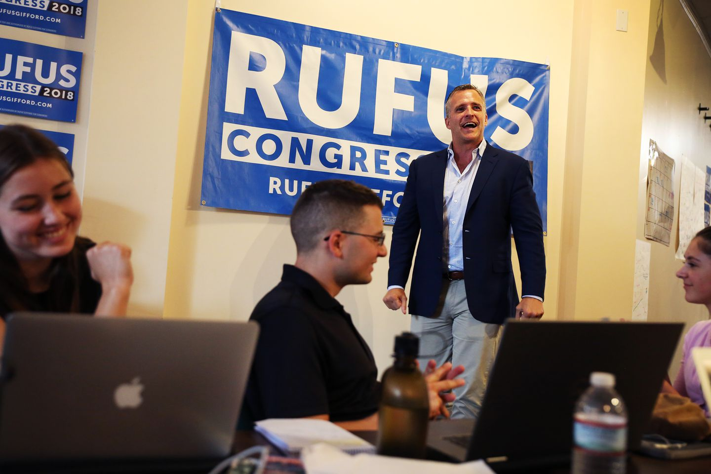 US Ambassador to Denmark Rufus Gifford spoke to volunteers at a Get Out the Vote Rally in his downtown Lowell offices.