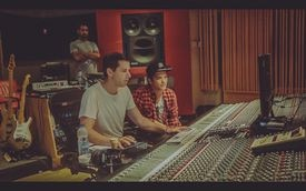 Mark Ronson with Bruno Mars in the studio.
