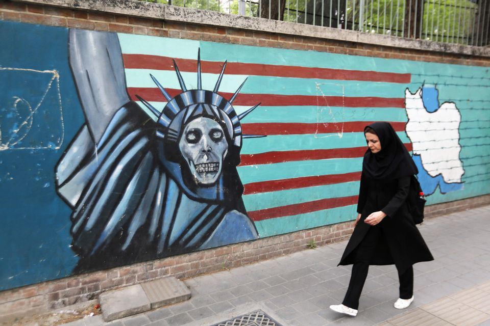 A mural on the wall of the former US embassy in Tehran, Iran, pictured on May 8.