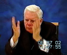 A frame grab from a video of Cardinal Bernard Law's June deposition on the Paul Shanley case.