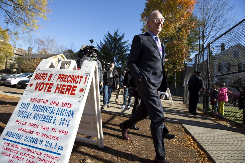 Bruce Mann, professor at Harvard Law School, walked in to vote at Graham and Parks School in Cambridge.