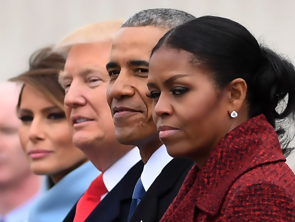 Melania Trump, Donald Trump, Barack Obama, and Michelle Obama at the US Capitol after the inauguration ceremonies.