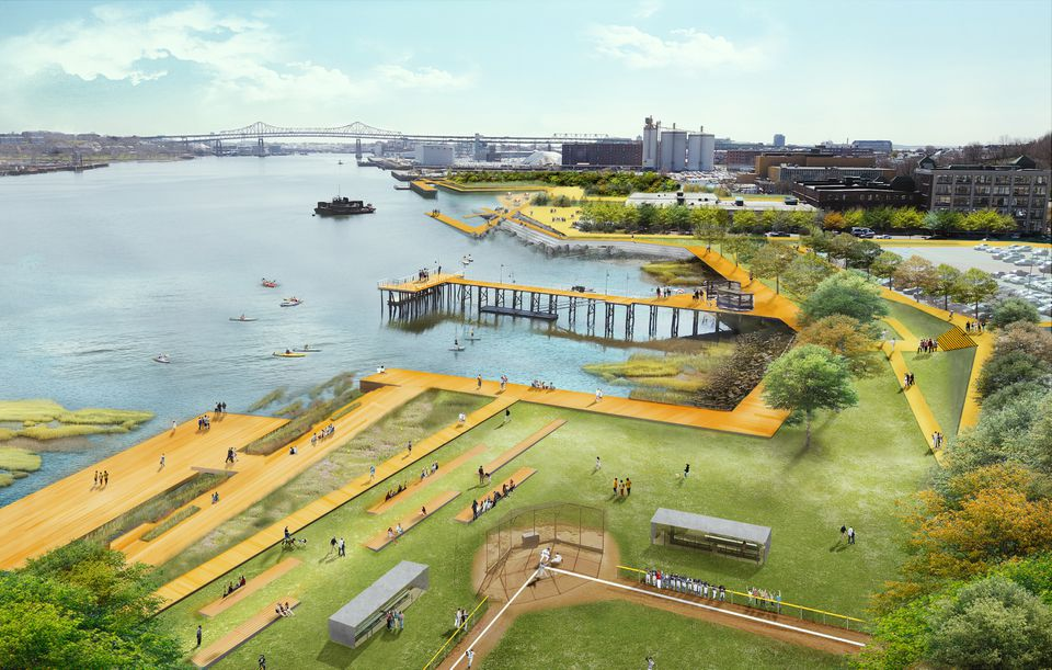 """A rendering from page 44 of the """"Final Report of Coastal Resilience Solutions for East Boston and Charlestown,"""" which shows Charlestown's long-term climate resilient waterfront strategy."""