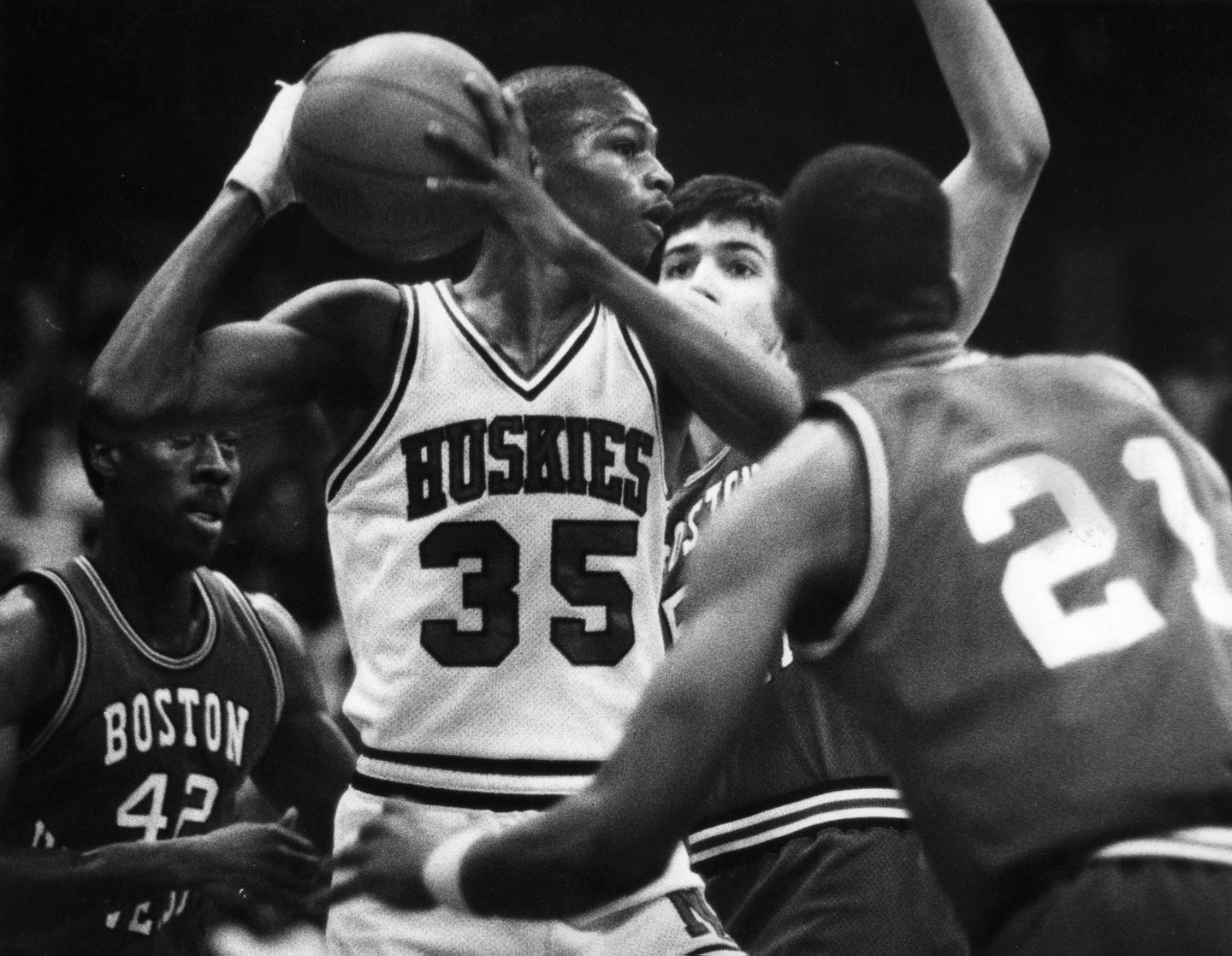 Reggie Lewis played at Northeastern from 1983 to 1987.