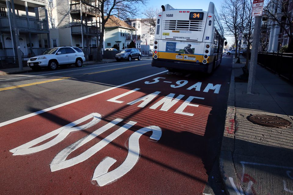 A bus used a dedicated lane on Washington in Boston on Tuesday.