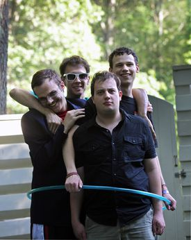 From left: New Michael Ingemi, Noah Britton, Ethan Finlan, and Jack Hanke of Asperger's Are Us. The local comedy group has gained a following and played in larger venues over the last two years.