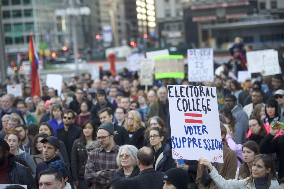 Protestors demonstrate against President-elect Donald Trump, Nov.13, in Philadelphia. The Republican candidate lost the popular vote by more than a million votes, but won the Electoral College.