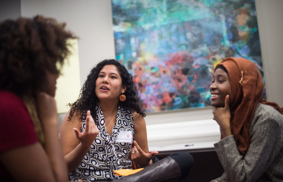 Esther Maddox from Princeton, Jasmine Fernandez from Harvard, and Kujegi Camara, also from Princeton, attended an open dialogue session at Brown's 1vyG conference for first-generation students in February.