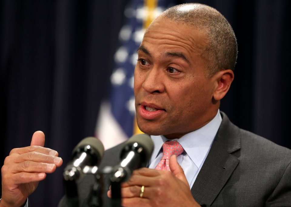 Governor Deval Patrick outlined his budget proposal at a press conference.