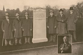 The surviving members of the Oneida team at the Nov. 21, 1925, dedication of the marker on Boston Common, where they played football (left to right): Winthrop Saltonstall Scudder, James D'Wolf Lovett, Gerrit Smith Miller, Francis Greenwood Peabody, Robert Means Lawrence, and Edward Lincoln Arnold. Inset is Edward Bowditch, who was in England at the time.