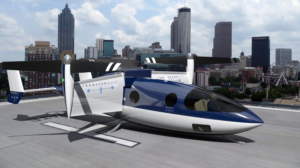 Transcend is designing a vertical-takeoff aircraft that would fly between helipads in downtowns.