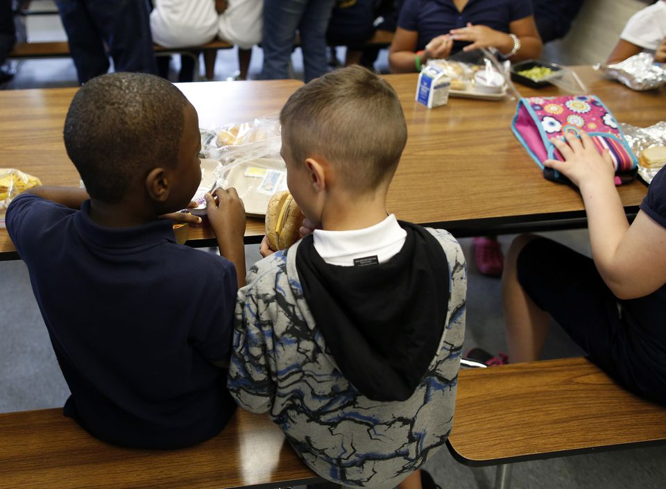 Children ate lunch at Roger Clap Innovation School in Dorchester.