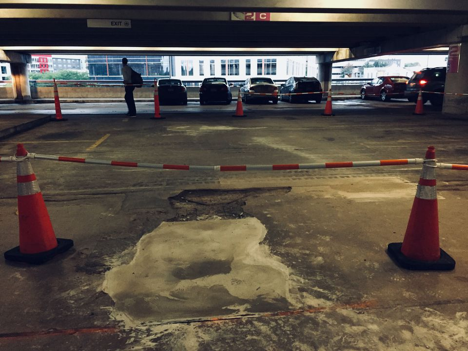 A section of the second floor of the Alewife garage was blocked off after the garage reopened Monday.