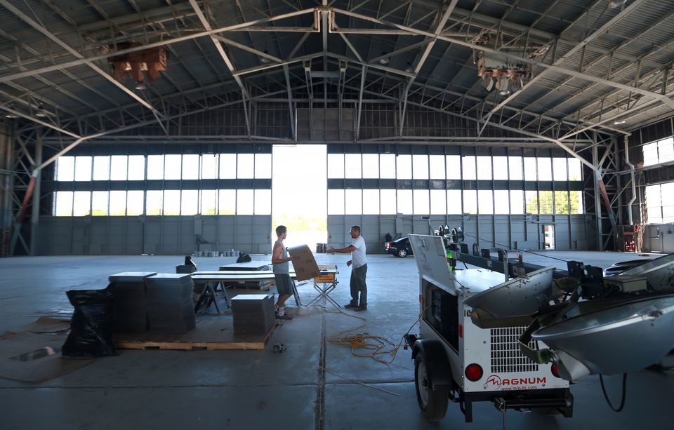 A hangar at the former South Weymouth Naval Air Station is being renovated into a film studio and sports facility.