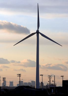 A large wind turbine, similar to the devices Cape Wind wanted to build, stood next to Hull High School in 2006.
