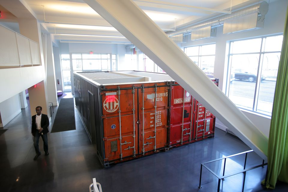 Shipping containers have been repurposed as offices.
