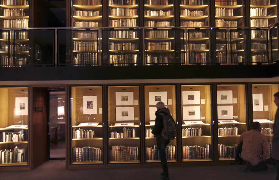 Julie Paz of Idaho visits the rare book department at the Boston Public Library.