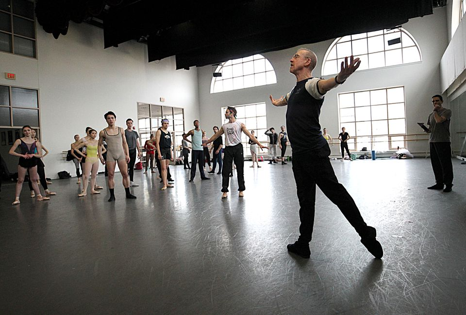 """William Forsythe with Boston Ballet dancers at a rehearsal for """"Full on Forsythe."""""""