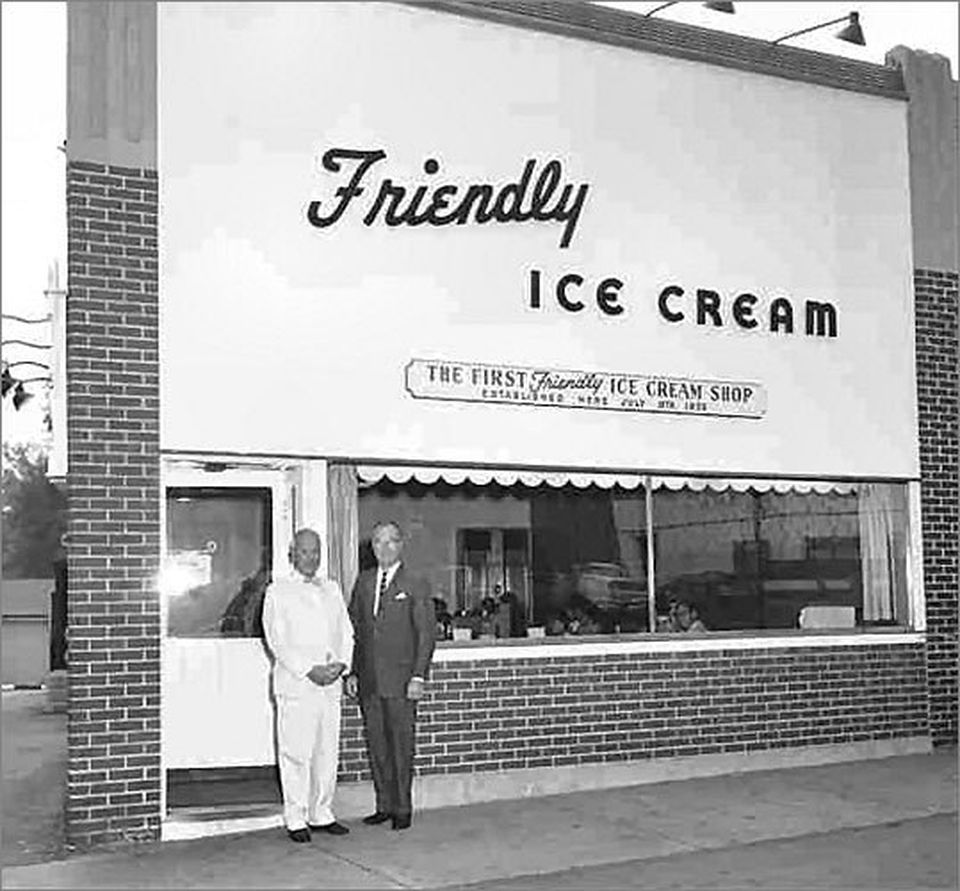 Prestley and Curtis Blake stand in front of the first Friendly's location in this undated photo.