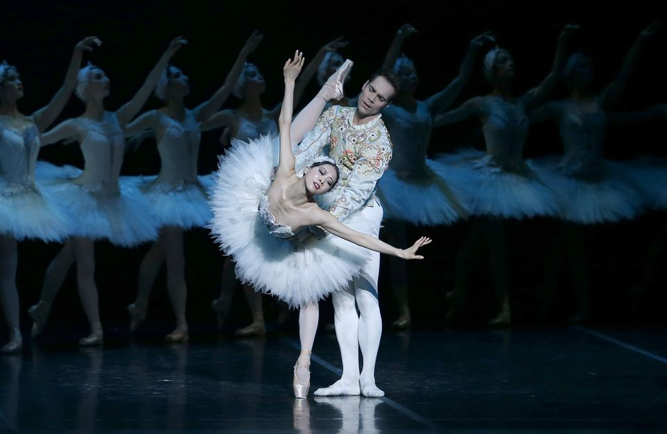 "Boston Ballet dancers in dress rehearsal for ""Swan Lake."""