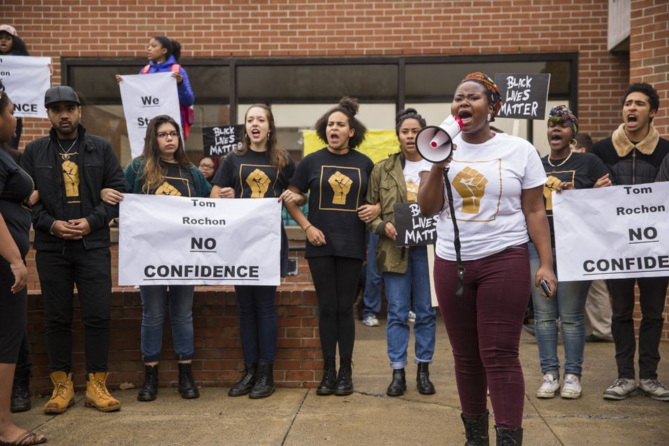 """Protesters at Ithaca College chanted """"Tom Rochon, no confidence,"""" referring to the school's president, on Wednesday."""