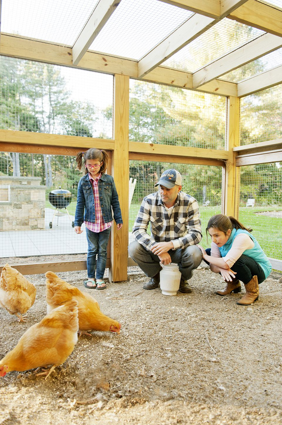"While the family enjoys caring for the flock (and eating the eggs), they've opted not to name the birds. ""The first one we named was the first to die,"" says homeowner Eric Svenson. ""It caused a lot of upset."""