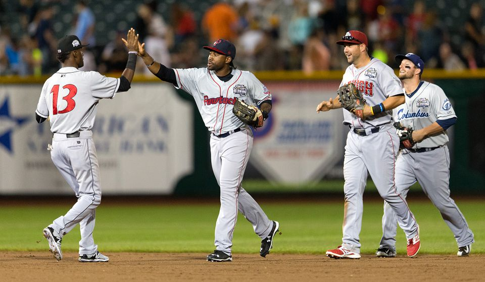 Jackie Bradley Jr. (center) played in the Triple A All-Star Game in Papillion, Neb.