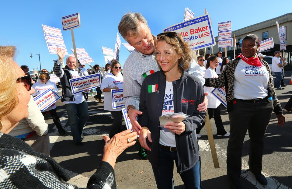 Republican gubernatorial candidate Charlie Baker campaigned with his wife, Lauren, in East Boston earlier this month.