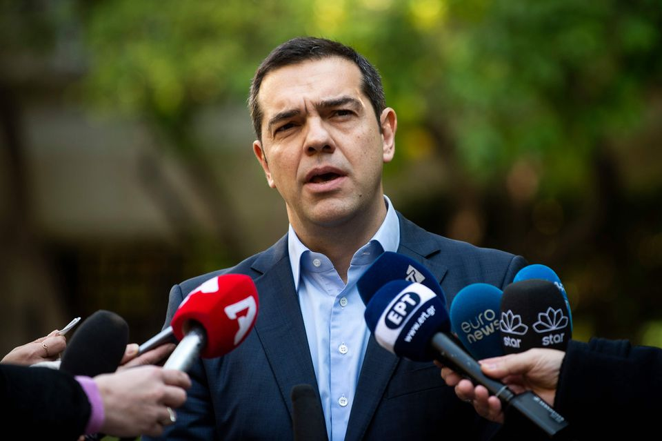 Greek Prime Minister Alexis Tsipras spoke to the media after meeting with Greek Defense Minister and coalition partner Panos Kammenos in Athens. Kammenos announced his resignation on Sunday.