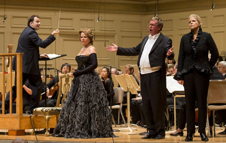 """From left: Andris Nelsons, Renée Fleming, Franz Hawlata, and Susan Graham during Thursday's performance of """"Rosenkavalier"""" at Symphony Hall."""
