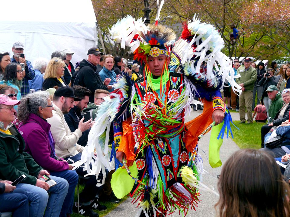 A traditional dancer kicked off the fashion show at Abbe Museum's inaugural Indian Market.