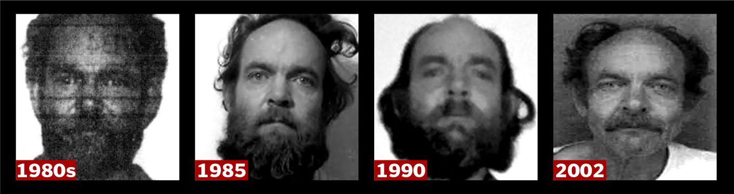 Police mug shots over three decades of the man known first to authorities as Robert T. Evans.