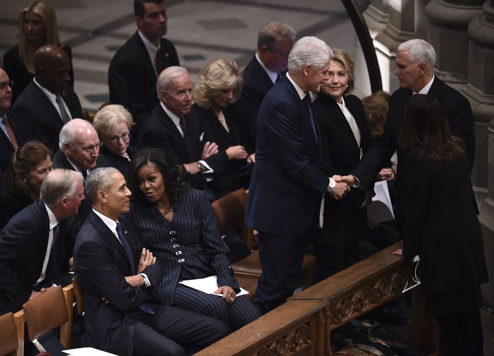 From left, second row: Dan and Marilyn Quayle, Dick and Lynne Cheney, Joe and Jill Biden, and Al Gore.