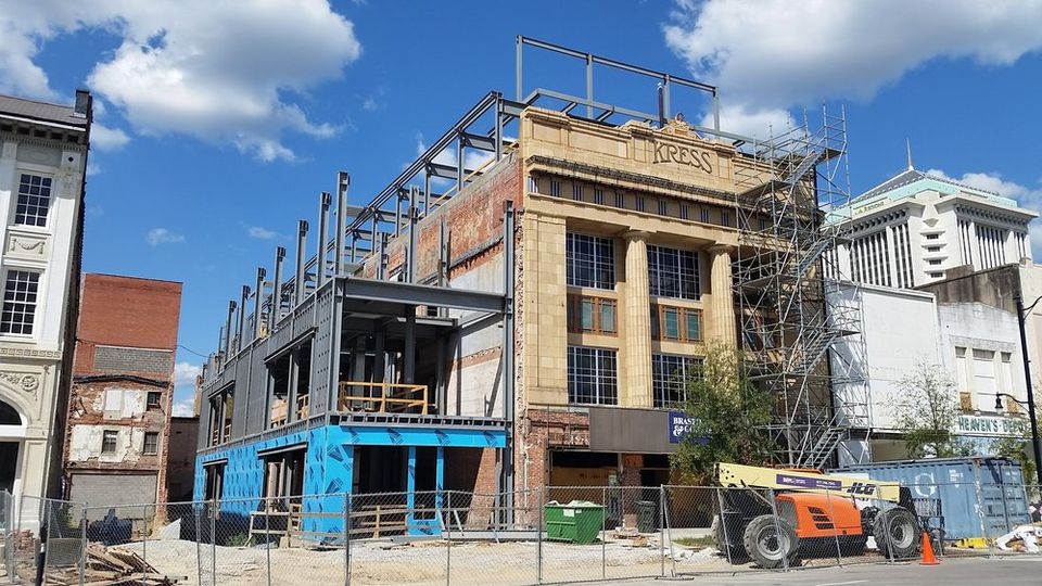 Restoration work on the Kress building in 2014.