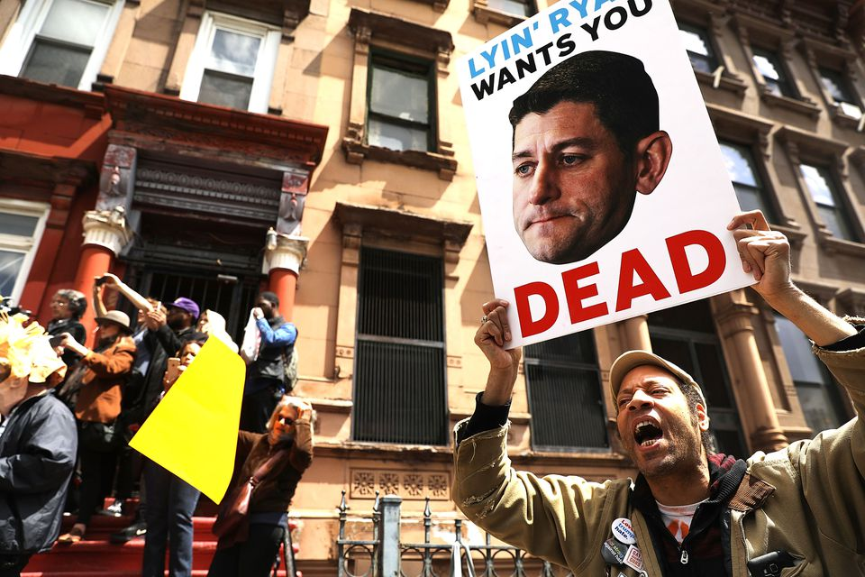 Health care activists protested in front of a Harlem charter school last week before the expected visit of House Speaker Paul Ryan.