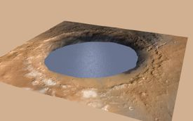 An illustration depicts a lake of water partially filling Mars' Gale Crater, receiving runoff from snow melting on the crater's northern rim.