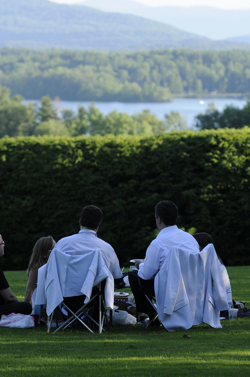 Concertgoers in Lenox picnic on the lawn at Tanglewood.