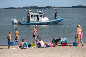 A boat searched for the boy on Tuesday afternoon.