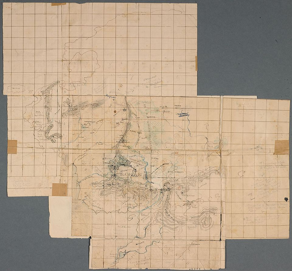 """J.R.R. Tolkien's first map of """"The Lord of the Rings."""""""