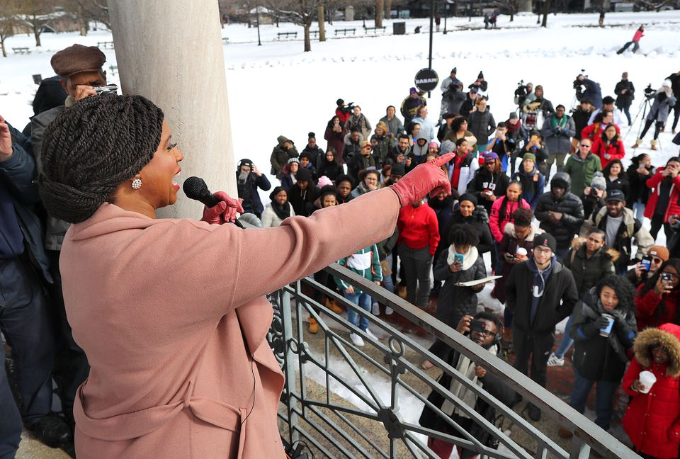US Representative Ayanna Pressley spoke to the marchers at the Boston Common bandstand Thursday.