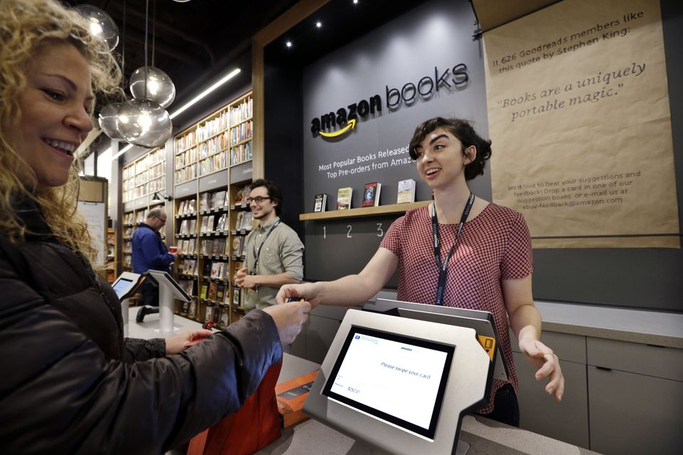 An Amazon Books location like the one pictured in Seattle will open in Dedham.