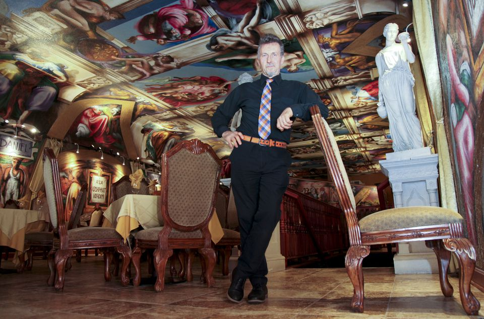 """Jacky Rosic stood in his Bosnian restaurant """"Galleria de Paco."""" earlier this month."""