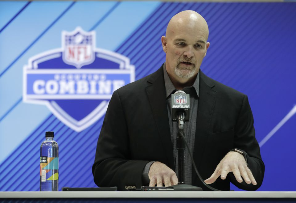 """Falcons coach Dan Quinn is interested in the speed element of player-tracking data, """"the small things that may not show up on the stat sheet that I'm looking at."""""""