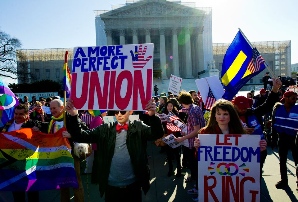 Demonstrators outside the Supreme Court earlier this year.